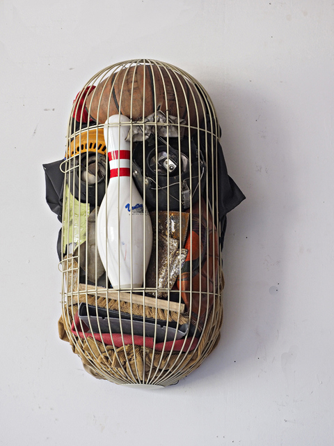 SCULPTURE/ ASSEMBLAGE  MASK_ HEADS OF STATE CAGE