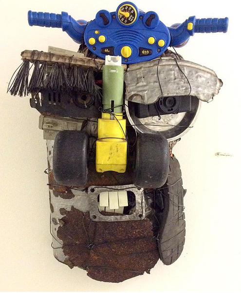 SCULPTURE/ ASSEMBLAGE  MASK_ HEADS OF STATE BLUE HORN