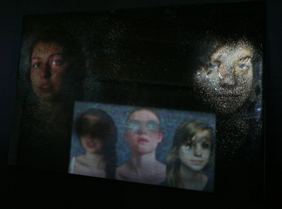 Michelle Anne Holman Visual Snow Storm // Installations  Projected video, oil paint and mirror