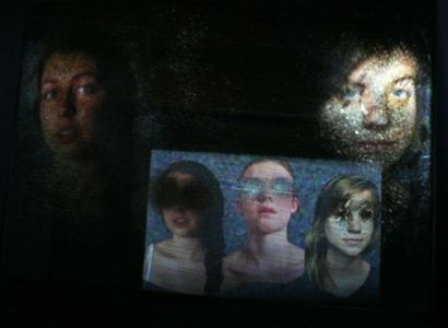 Michelle Anne Holman Visual Snow Storm // Installations  Video projection, oil paint and mirror