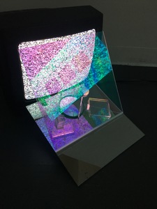 Michelle Anne Holman Visual Snow Storm // Installations  TV, 2 way mirror, iridescent plexi, acrylic squares, rear view mirror