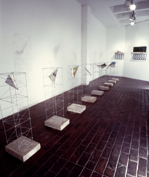 Micki Watanabe Spiller Between Floors steel, paper, paint, concrete, aluminum