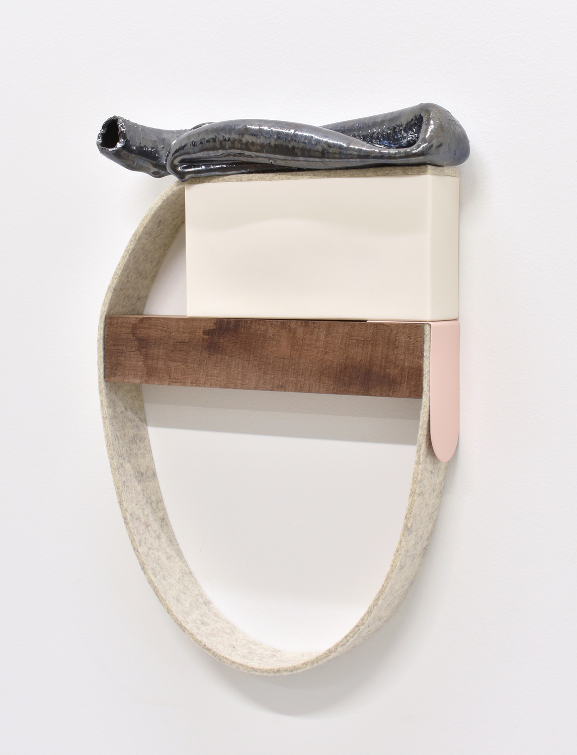 "Mie Kongo 2021 - ""Correspondence"" at 65Grand, Chicago, IL Porcelain, Stoneware, Glaze, Wood, Wool felt, Copper, Acrylic paint"