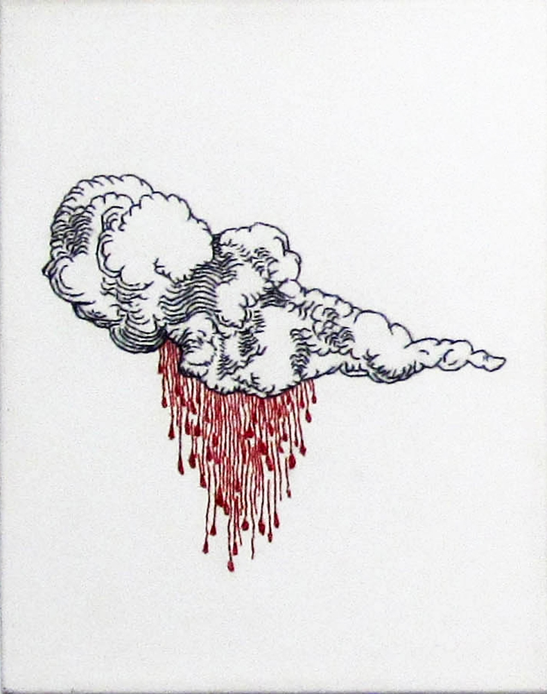 Embroidery: Blood Clouds & Dollar bills   - 2004 to 2009 Blood Cloud (after Durer), Left