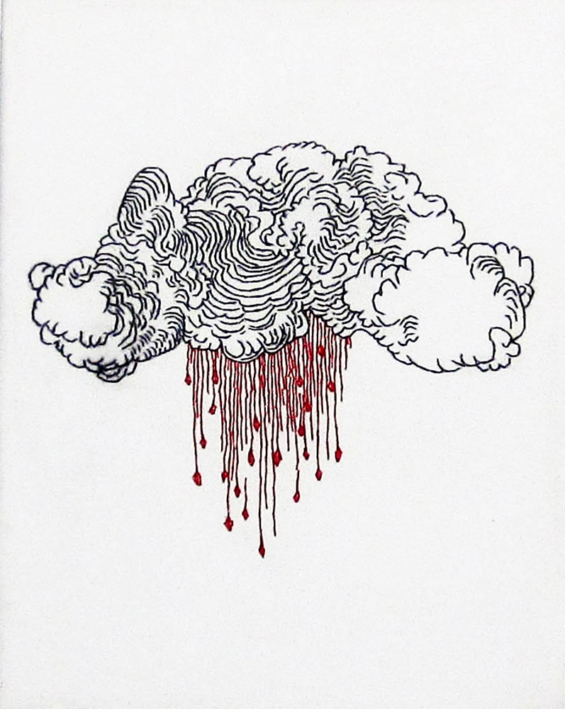 Embroidery: Blood Clouds & Dollar bills   - 2004 to 2009 Blood Cloud, Center