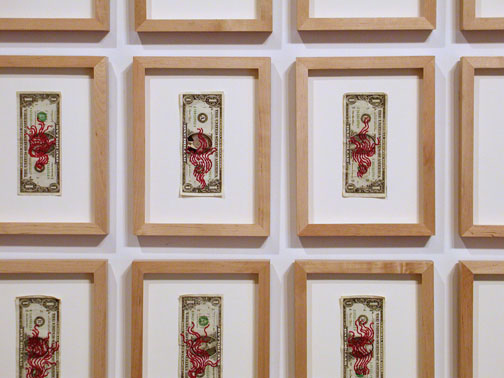 Embroidery: Blood Clouds & Dollar bills   - 2004 to 2009  Embroidery: Blood Clouds & Dollar bills   - 2004 to 2009