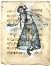 Mira Gerard Selected early work Graphite and Gouache on antique sheet music