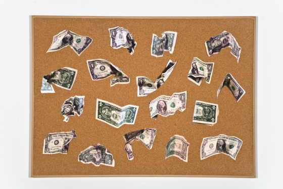 Money color inkjet prints, numbered map pins, corkboard