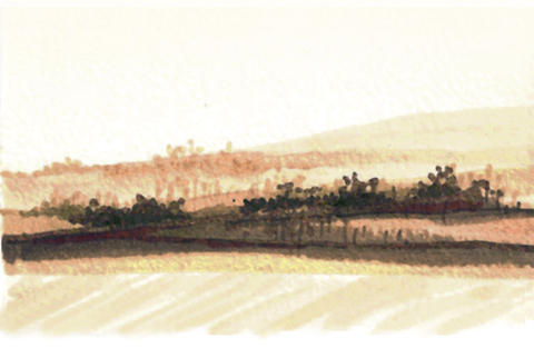 "Landscapes Untitled, 2010 - Marker on paper,  3""WX5""H"