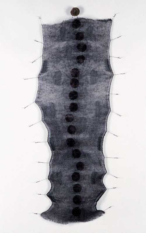 MO  KELMAN Recent Work shibori dyed and shaped silk, black walnut hulls