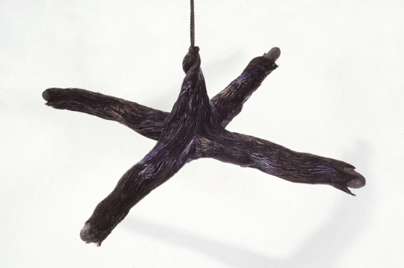 MO  KELMAN Things Still Here series shibori dyed and shaped silk, paper, india ink, cotton cord