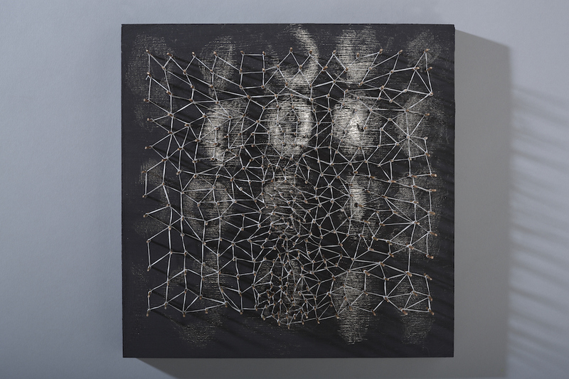 MO  KELMAN Recent Work wood, rayon cord, bamboo, graphite, knotting