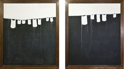 MOLLY RAUSCH Chalkboards & Piano Rolls Oil and chalkboard paint on panel