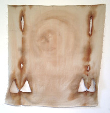 MOLLY RAUSCH The Museum of Controversial Art Tea, coffee, and watercolor on linen pillowcase