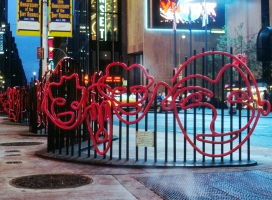 Monica Banks Faces: Times Square Painted steel rod and plate
