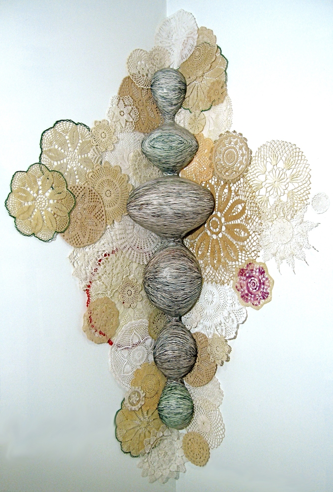 Monique Luchetti Sculpture 2007-2010 Hydrocal plaster, chicken wire fencing, wood, qouache, recycled handmade crocheted doilie