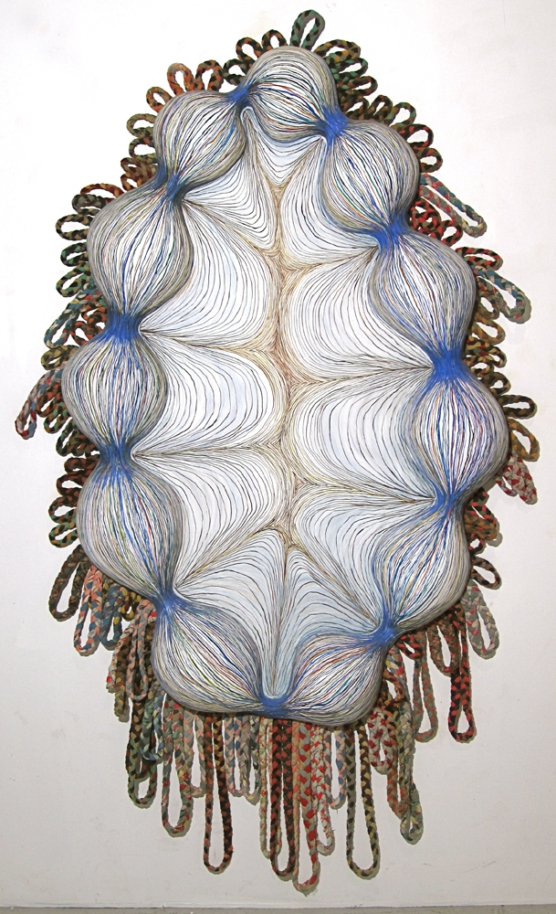 Monique Luchetti Sculpture 2007-2010 Hydrocal plaster, wood, recycled handmade braided rugs, linen, gouache