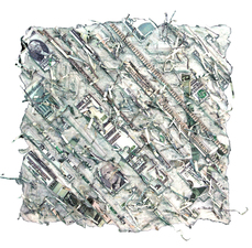Marjorie Tomchuk  Cards & Small Prints Embossing with photo collage of money