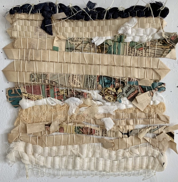 NANCY BRETT Weaving Paper leader tape, newspaper, cheesecloth, linen, and silk