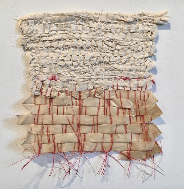 NANCY BRETT Weaving Sari silk, paper leader tape, and ink