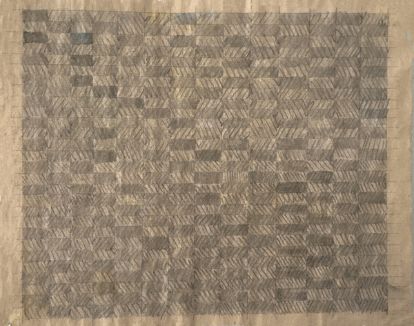 NANCY BRETT Weaving Pencil on newsprint