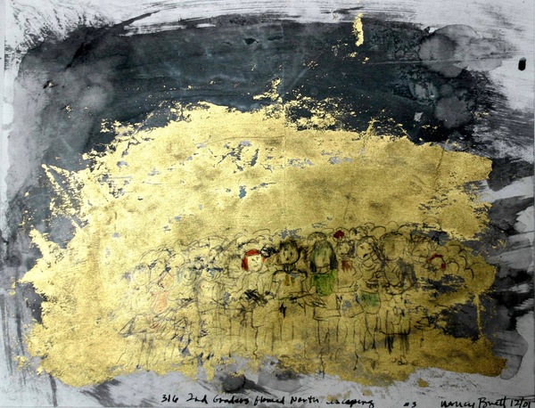 NANCY BRETT Early Charcoal, ink, gold leaf on paper