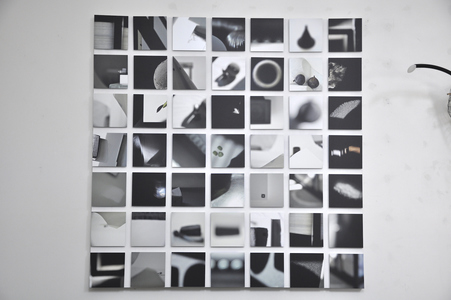 Nancy D. Brown Entropy and the Grid Digital prints on aluminum Dibond, mounted on maple panel