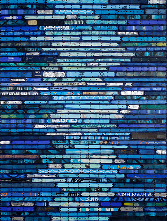 Paintings: Running Stitch Series  Found and invented elements with encaustic and tacks on panel