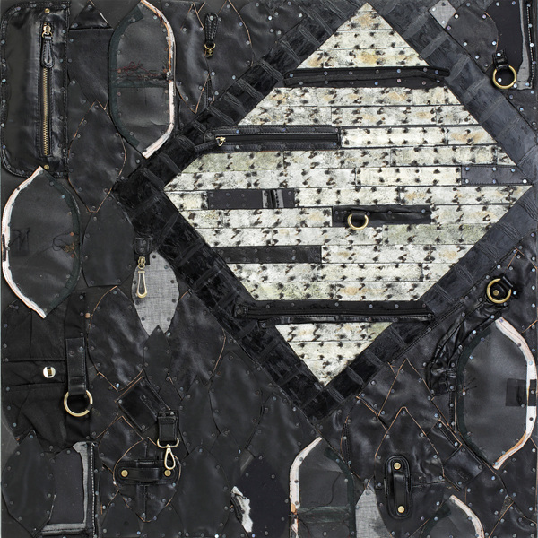 Paintings: Dimensional Repurposed leather, linings, and hardware from discarded handbags, tarpaper, tacks, encaustic on panel