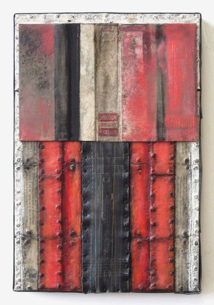 Constructions Encaustic with book parts, recycled rubber, tacks, oilstick, oil paint on birch panel