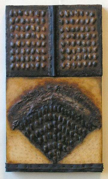 Constructions Encaustic with shells, rubber, fiber, oilpaint on two joined birch panels