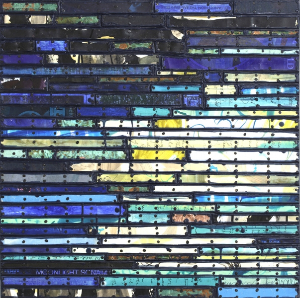 Paintings: Running Stitch Series  Shifting - Blue