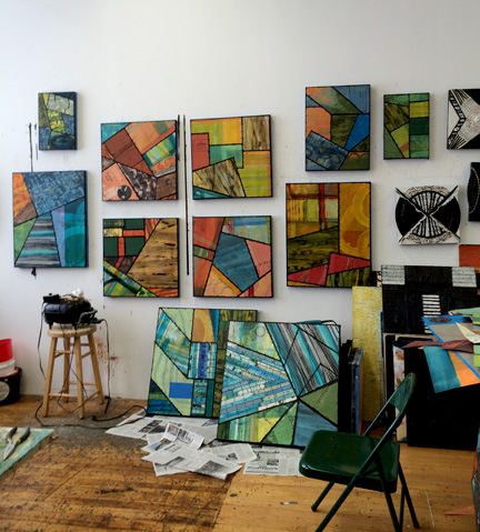 Paintings: Syncopated Series Wall of work in the studio