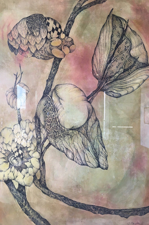 Nancy Reinker Nature's Elements ink with mixed media