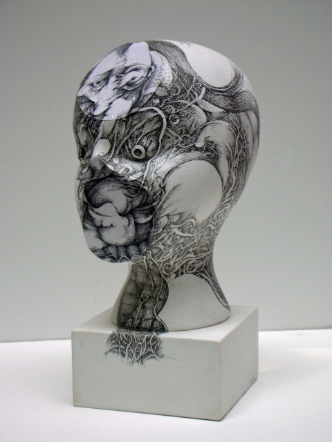 Nancy Reinker Black & White Figures Ink on styrofoam, plastic and wood