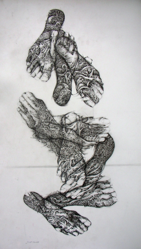 Nancy Reinker Black & White Figures Ink on mylar