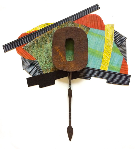 "Nanette Carter  ""Cantilevered"", 2013 - 2019  metal, oils and oil stick on Mylar"