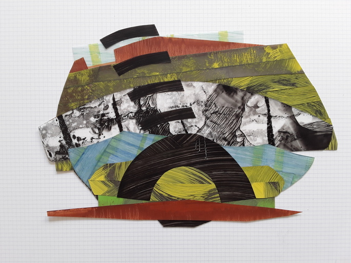 "Nanette Carter  ""Cantilevered"", 2013 - 2019  oil on Mylar"