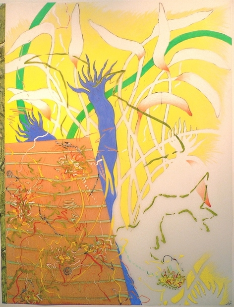 "Nanette Carter  ""In the Garden: The Animist"" and ""Bouquet for Loving"" 2009-2012    oils, magic marker, color pencil, Mylar"
