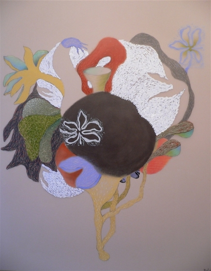 "Nanette Carter  ""In the Garden: The Animist"" and ""Bouquet for Loving"" 2009-2012    oils, oil sticks, color pencil, pencil,"