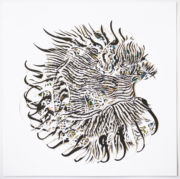 Natasha Bowdoin Implausible Tiger Pencil, gouache, and ink on cut paper