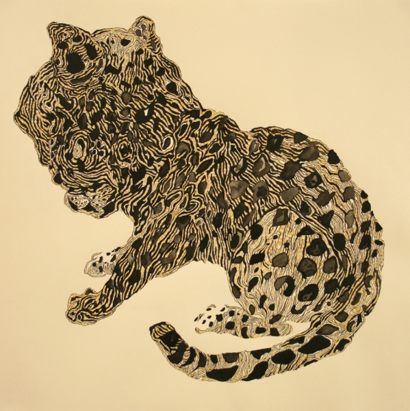 Natasha Bowdoin Implausible Tiger Gouache and ink on paper
