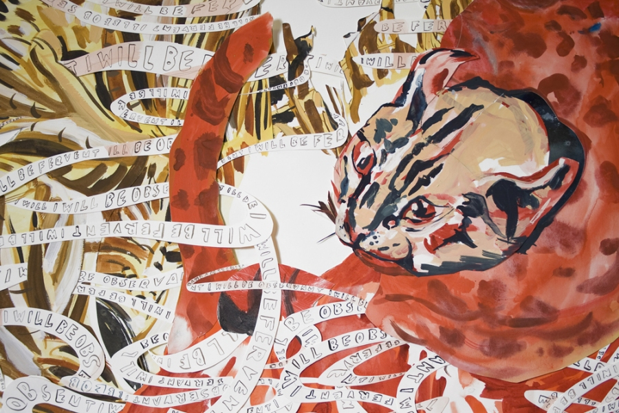 Natasha Bowdoin Implausible Tiger Monotype on cut paper