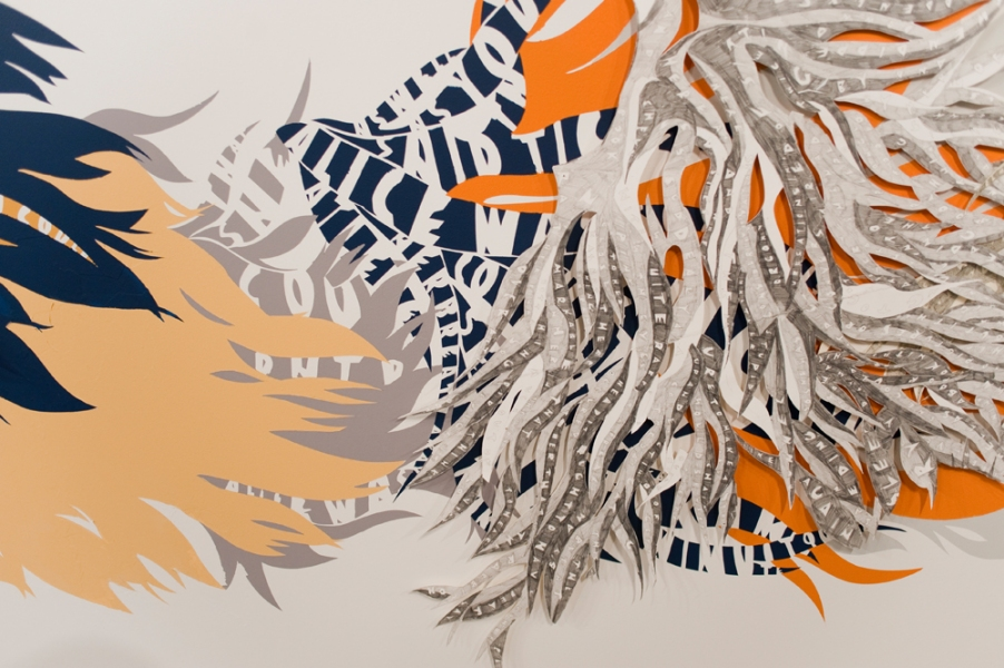 Natasha Bowdoin Installations Cut paper, acrylic paint, gouache, and pencil