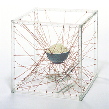 Chee Wang Ng Maquette | 圖像模型 Clear extruded acrylic square tubing frame and red thread with rice bowl and chopsticks