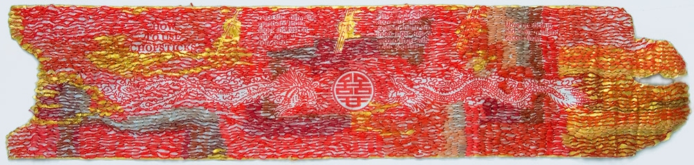 Nicola Ginzel  THREAD  Gold Fragments  2007-09 thread, acrylic paint, chopstick wrapper