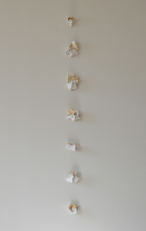 Nicola Ginzel  Rearranging the Bones, Rearranging the Flesh - 2007-14 boiled receipts and plaster