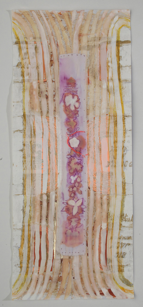 Nicola Ginzel  Rearranging the Bones, Rearranging the Flesh - 2007-14 graphite frottagem pen, ink, gouache, pastel fabric frottage fastened with thread