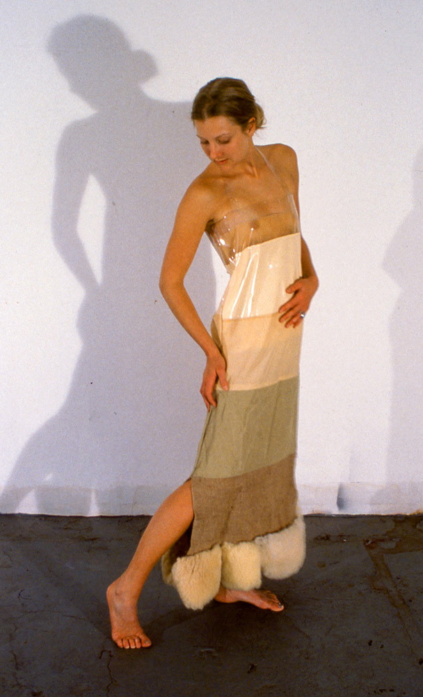Nicola Ginzel  History of Clothing - 2000 from top to bottom: acetate, vinyl, silk, cotton/ linen blend, burlap, sheep's wool
