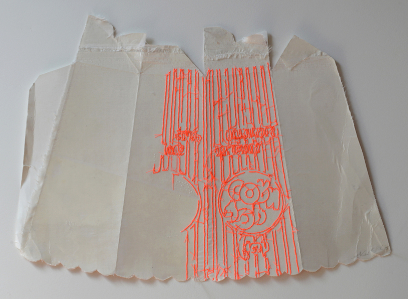 Nicola Ginzel  THREAD Fluorescent Fragments - 2014 - continued thread, fabric for reenforcement, pop corn box